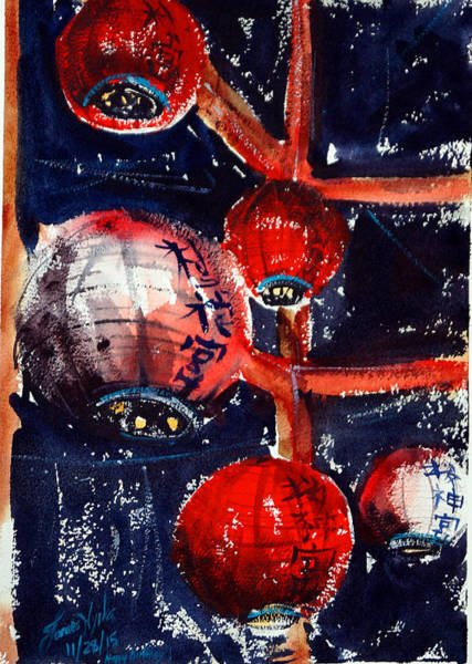Wall Art - Painting - Temple Lanterns by James Nyika