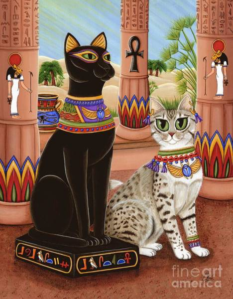 Painting - Temple Of Bastet - Bast Goddess Cat by Carrie Hawks