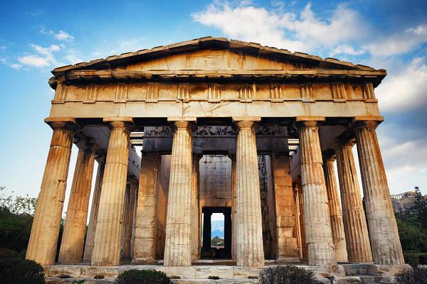 Photograph - Temple Of Hephaestus Closeup by Songquan Deng