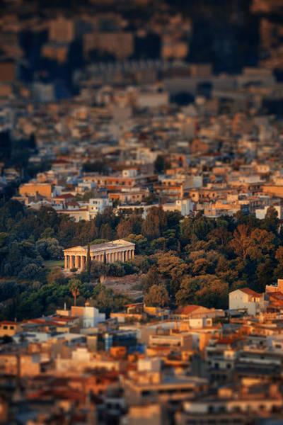 Photograph - Temple Of Hephaestus Mountain Top View Tilt Shift by Songquan Deng