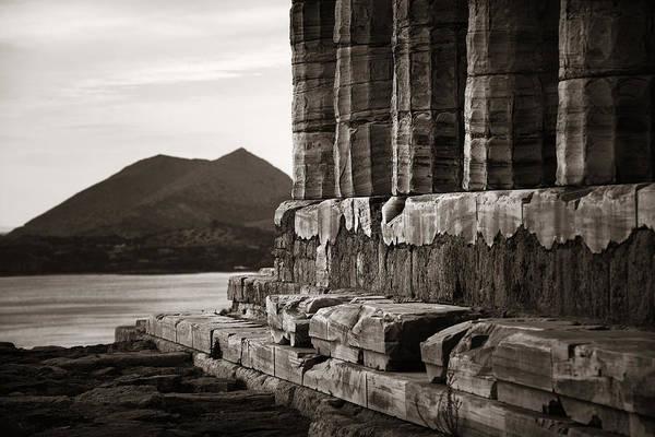 Photograph - Temple Of Poseidon Closeup by Songquan Deng