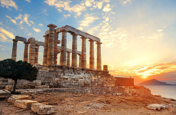 Photograph - Temple Of Poseidon Sunset by Songquan Deng