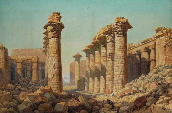 Collapse Painting - Temple Ruins Of Karnak by Charles Vacher