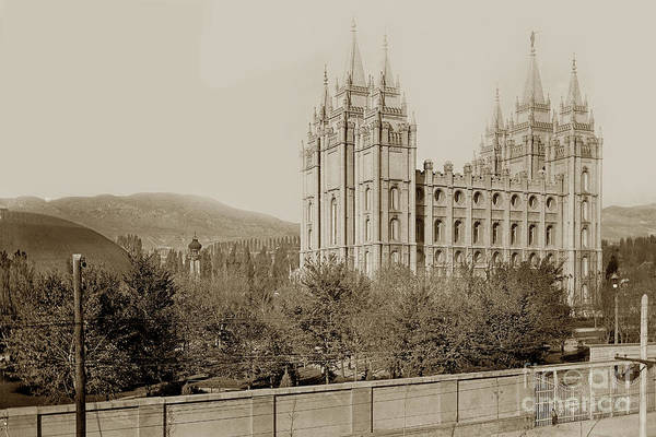 Photograph - Temple Square, Worldwide Headquarters Of The Church Of Jesus Christ 1919 by California Views Archives Mr Pat Hathaway Archives