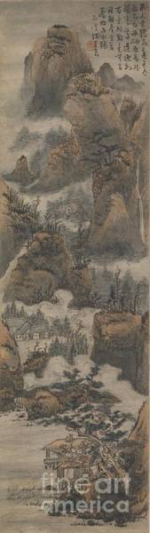 Chinese Buddha Painting - Temples Among Autumn Mountains by Celestial Images
