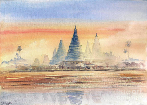 Painting - Temples In The Dusk by Asha Sudhaker Shenoy