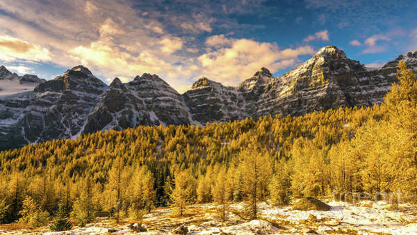 Moraine Lake Photograph - Ten Peaks Canadian Rockies And Golden Fall Larch Colors by Mike Reid
