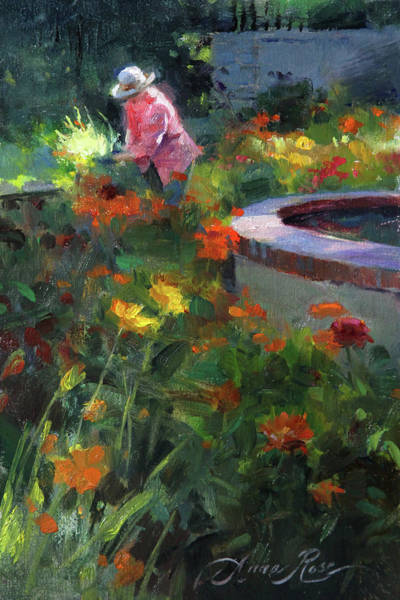 Late Wall Art - Painting - Tending The Dahlias by Anna Rose Bain