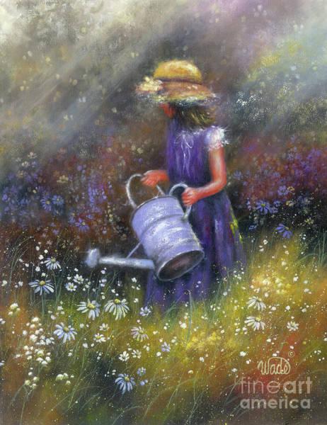 Watering Can Painting - Tending Wildflowers Girl by Vickie Wade
