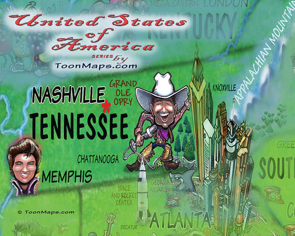 Digital Art - Tennessee Fun Map by Kevin Middleton