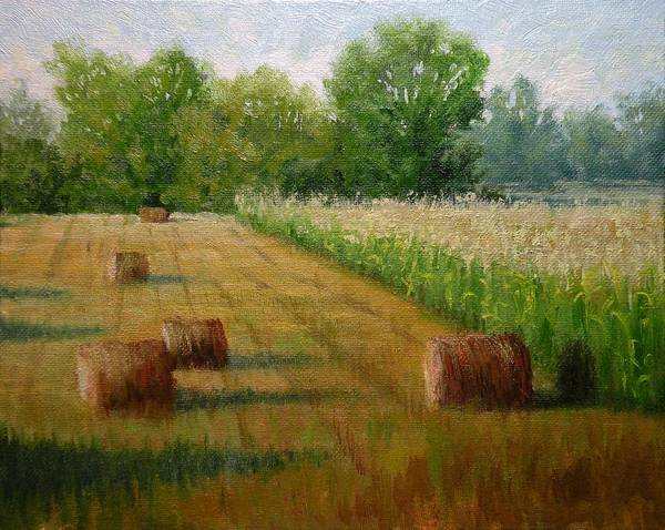Wall Art - Painting - Tennessee Hay And Corn Fields by Paula Ann Ford