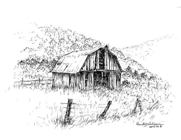 Barn Drawing - Tennessee Hills With Barn by Randy Welborn