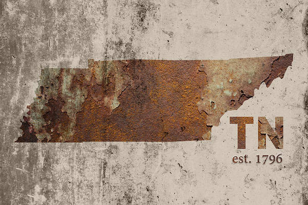 Memphis Design Wall Art - Mixed Media - Tennessee State Map Industrial Rusted Metal On Cement Wall With Founding Date Series 030 by Design Turnpike