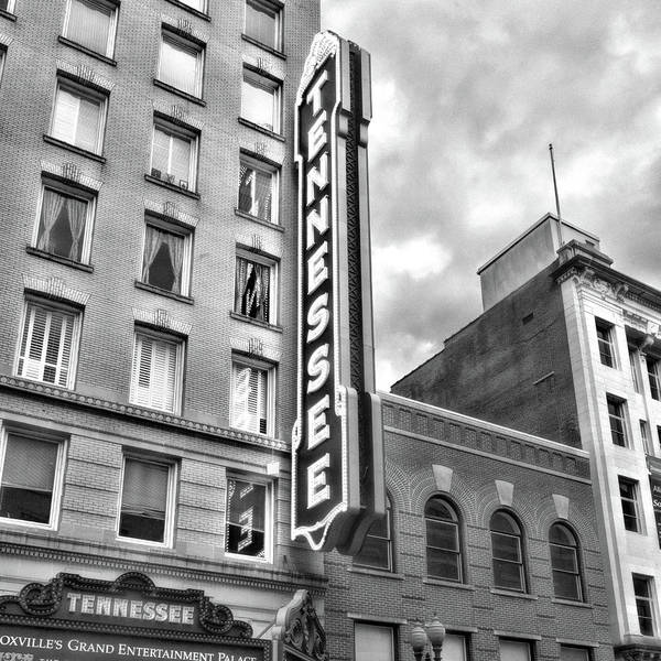 Photograph - Tennessee Theatre Marquee Black And White by Sharon Popek