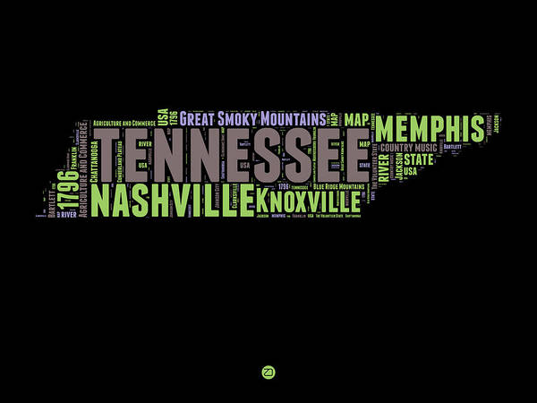 Nashville Wall Art - Digital Art - Tennessee Word Cloud Map 1 by Naxart Studio