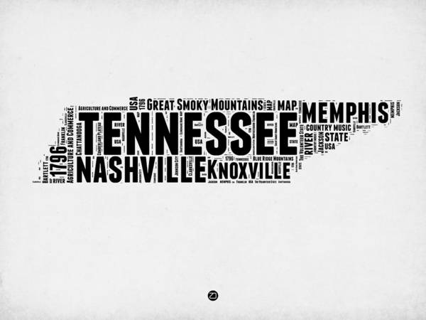 Nashville Wall Art - Digital Art - Tennessee Word Cloud Map 2 by Naxart Studio