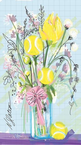 Courting Digital Art - Tennis Bouquet by Nicole Slater
