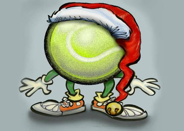 Tennis Christmas Art Print