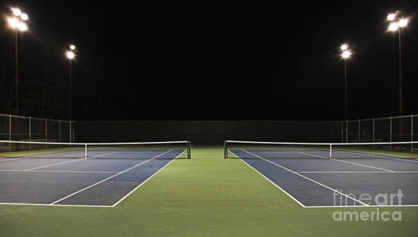 Chain Link Photograph - Tennis Court At Night by Ben Sandall