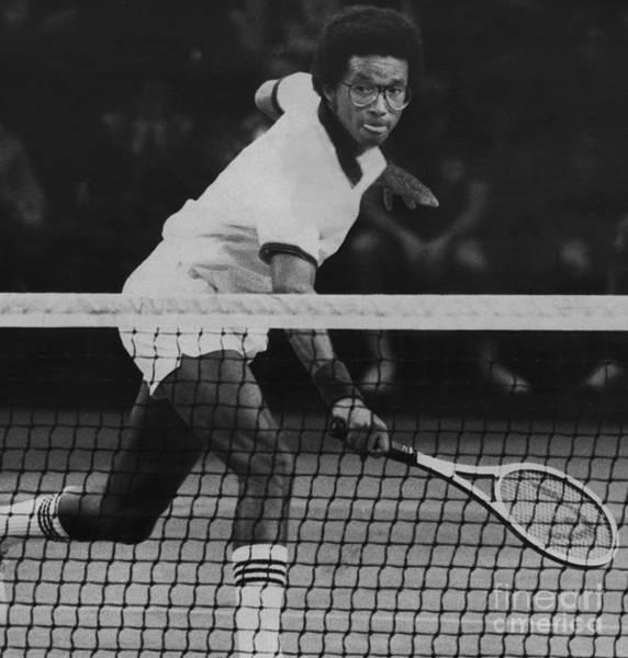 Tennis Great, Arthur Ashe, Returns The Ball At The Atp Worls Tour Finals In 1979. Art Print by Bob Olen