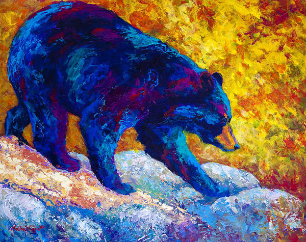 Wild Bear Painting - Tentative Step - Black Bear by Marion Rose