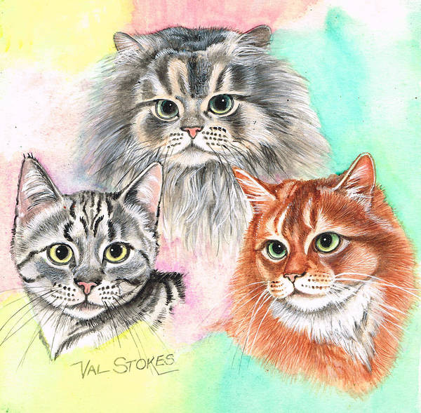 Painting - Tentative Trio by Val Stokes