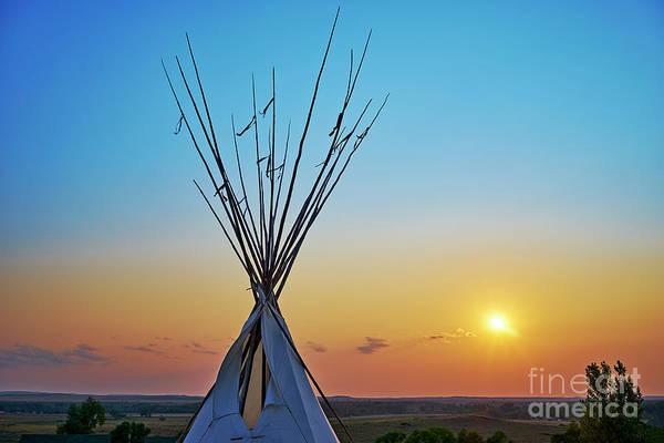 Powwow Wall Art - Photograph - Tepee At Sunset by Matt Suess