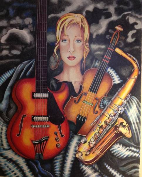 Sax Drawing - Terese by David Scott Wright