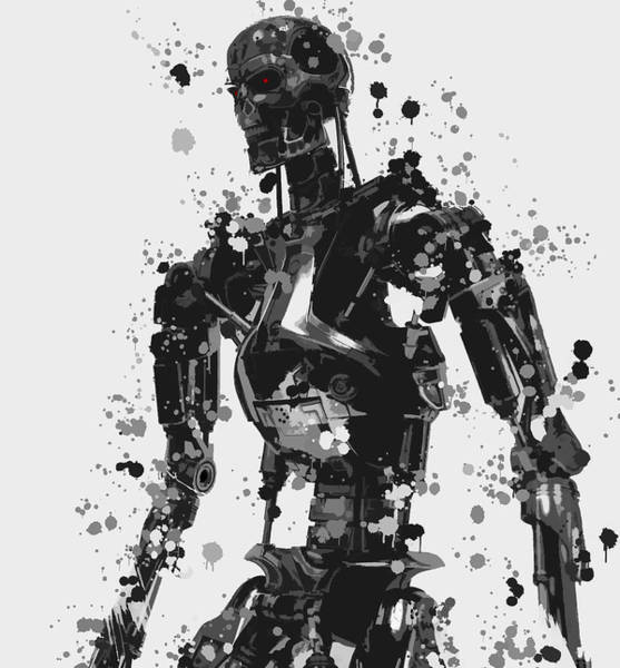 Wall Art - Mixed Media - Terminator Robot Paint Splatter by Dan Sproul