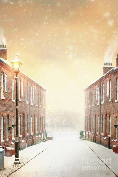 Chimnies Photograph - Terraced Street In Snow by Lee Avison