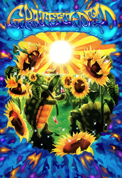 Wall Art - Digital Art - Terrapin Sun Flowers by The Turtle