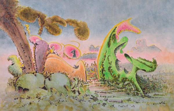 Organic Drawing - Terrarium by Dave Martsolf