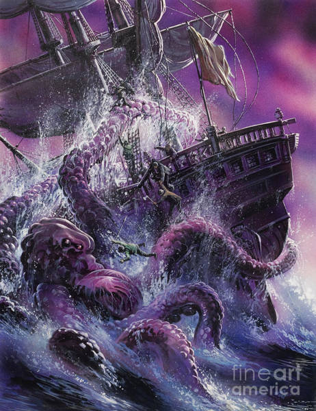 Sea Creature Painting - Terror From The Deep by Oliver Frey
