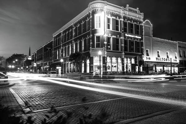 Photograph - Terry Block Building - Bentonville Arkansas Skyline - Black And White by Gregory Ballos