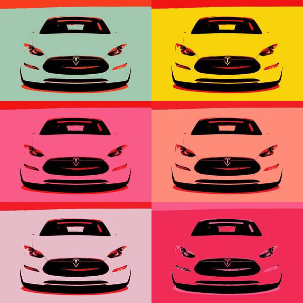 Wall Art - Mixed Media - Tesla Car Pop Art by Dan Sproul
