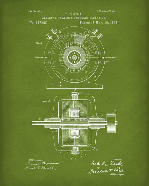Drawing - Tesla Generator 1891 Patent Art Green by Prior Art Design