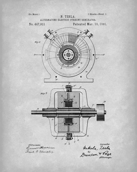Drawing - Tesla Generator 1891 Patent Art Grey by Prior Art Design