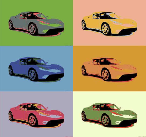 Wall Art - Mixed Media - Tesla Roadster Pop Art by Dan Sproul