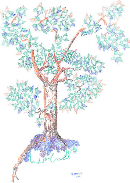Drawing - Tesselated Tree by Regina Valluzzi