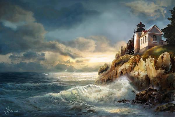 Wall Art - Painting - Fading Light, Bass Harbor Head Lighthouse  by Regina Femrite