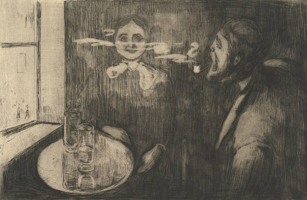 Relief - Tete-a-tete by Edvard Munch