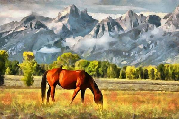 Teton National Park Digital Art - Teton Horse by Judy Coggin