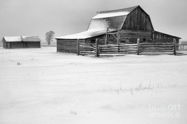 Photograph - Teton Mormon Homestead Winter Storm Black And White by Adam Jewell