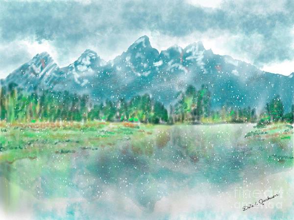 Teton National Park Digital Art - Teton Snow Reflections by Dale E Jackson