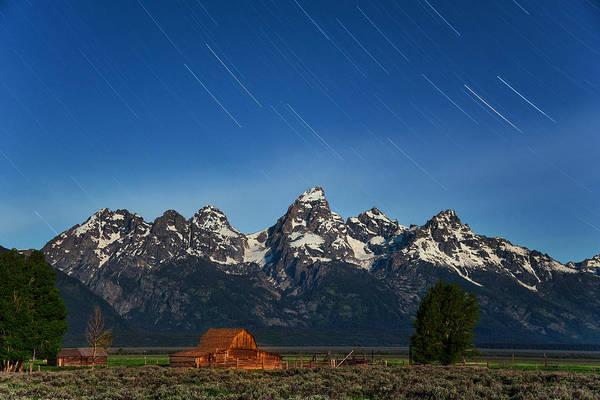 Photograph - Teton Star Trails by Darren  White
