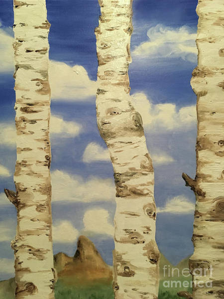 Painting - Teton View Thru Aspens by Shelley Myers