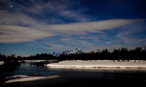 Photograph - Tetons At Moonlight by Norman Hall