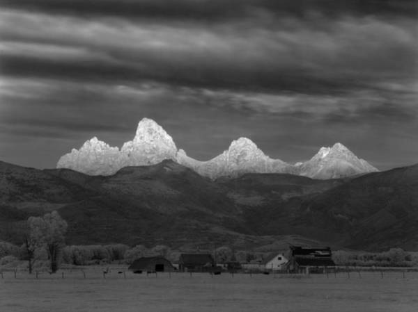 Photograph - 809251-tetons Glowing From The Back Bw  by Ed  Cooper Photography