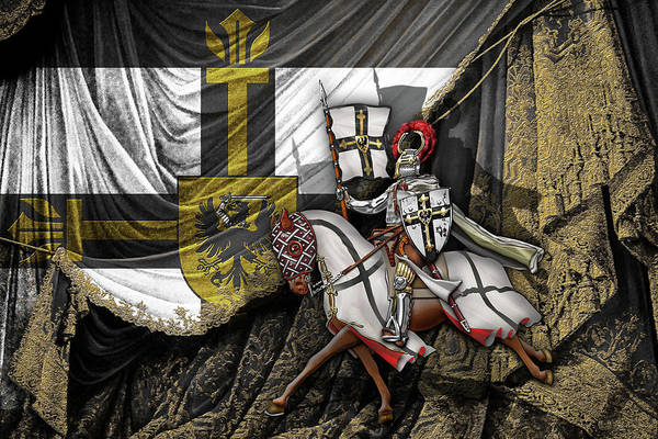 Digital Art - Teutonic Knight Rider On Horseback In Front Of The Teutonic Flag. by Serge Averbukh