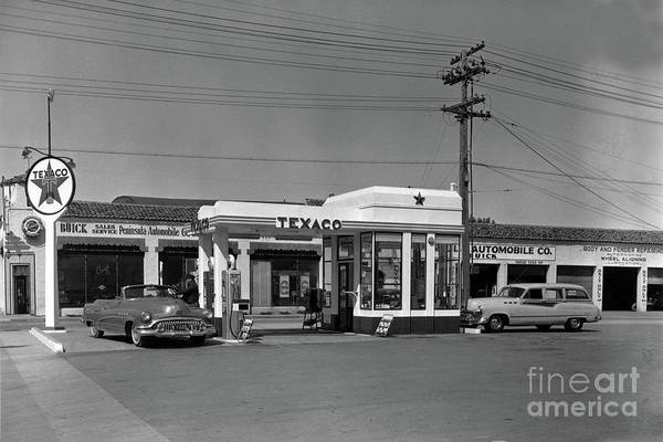 Photograph - Lewis  Texaco Gas Station, Buick Sales Service Monterey 1952 by California Views Archives Mr Pat Hathaway Archives